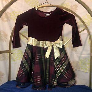Bonnie Jean Girls Sz 3T Christmas Long  Sleeve Dress /EUC