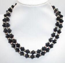 Vintage Antique Necklace Rhinestone Aurora Borealis Black Crystals Austria Bin8