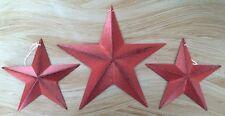 "Set of 3/ BURGUNDY BLACK BARN STARS 12""/8"" PRIMITIVE RUSTIC COUNTRY ANTIQUE"