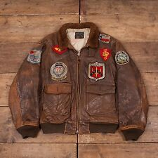 "Mens Vintage Avirex G1 Patched Korea Flight Jacket Fur Collar Brown 46"" L R5452"