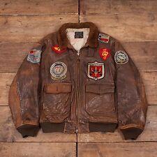 """Da Uomo Vintage Avirex G1 con Patch KOREA Volo Giacca collo in pelliccia marrone 46"""" L R5452"""