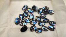 full package,24 czech vintage oval 18X13mm BLACK FOILED CABOCHONS