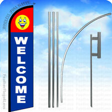 Welcome - Windless Swooper Flag 15' Kit Feather Banner Sign - Happy Face bf