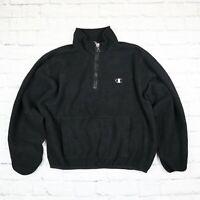 Mens Womens Vintage CHAMPION Quarter Zip Fleece Black Size L