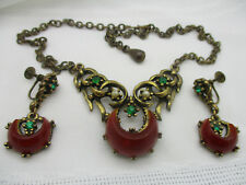 VINTAGE ANTIQUE OLD SET THERMOSET LUCITE RHINESTONE FAUX PEARL NECKLACE EARRINGS
