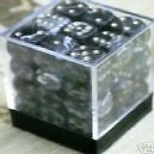 PACK OF 36 SPOTTED DICE 6 SIDED 12mm SIDES BLACK MARBLE