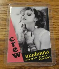 Vintage & Genuine Madonna Virgin Tour 1985 1986 Laminated Backstage CREW Pass