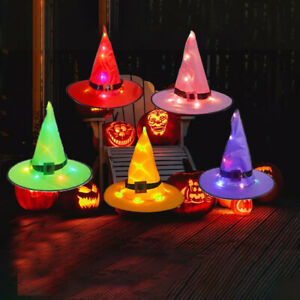 5PCS Halloween Witch Hats with Lights LED Light Up Outdoor Hanging Decor Caps
