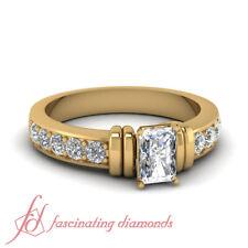 1.15 Ct Radiant Conflict Free Diamond Unique Carved Bar Design Engagement Ring