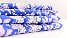 10 Yard Indian Hand Block Flower print Fabric Cotton Jaipuri Blue Dabu Fabric