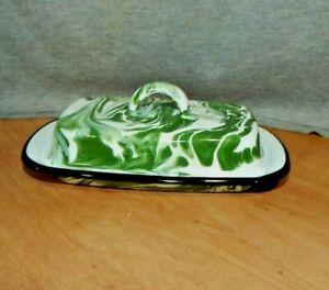 """Green & White Swirl Splatter Ware ENAMEL Graniteware COVERED BUTTER DISH 8"""" L"""