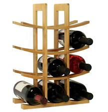 Oceanstar 12-Bottle Bamboo Countertop Wine Storage Rack, 4 Tier Beige Holder