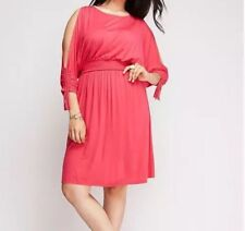 Lane Bryant  Plus Size 22/24 Cold Shoulder Pink Jersey Day Dress