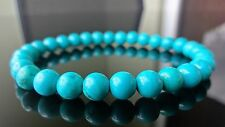 Genuine Turquoise Gemstone Bead Bracelet for Men Women Stretch 6mm beads - 7.5""