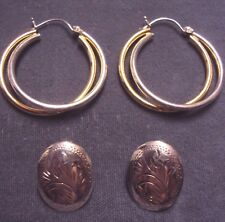 Etched/2 Tone Double Hoop Earring (Defect) Lot 2 Pr Vintage Sterling Silver Oval
