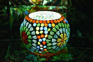 Vtg beautiful Multi color glass candle holder bowl for candle light table decor