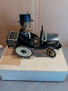 Vintage Tin Litho Marx Charlie McCarthy Crazy Bump n' Go Car, Wind Up Toy,