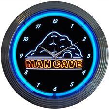 Man Cave Neon Wall Clock 15 Inch Diameter Blue Black