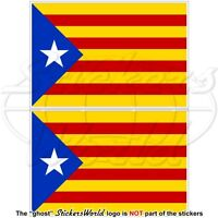 CATALONIA Catalan Independence Blue Flag Estelada Blava Spain Stickers 75mm x2