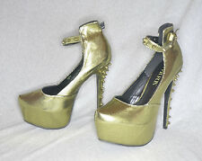 """Paper Fox """"Zora"""" yellow metallic hi-heel platform pump - Size 11, 6.5"""" heel New"""