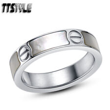 TTstyle 5mm Width Stainless Steel Mother of Pearl Wedding Band Ring Size 5-11
