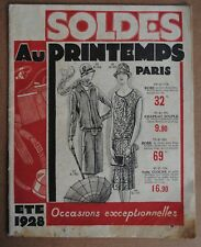 AU PRINTEMPS - SUMMER SALES SOLDES 1928 - FRENCH MAIL ORDER STORE CATALOGUE MODE