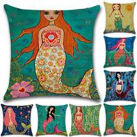 Mermaid Cotton Linen Pillow Case Sofa Waist Throw Cushion Cover Home Couch Decor