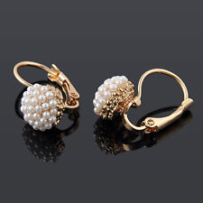 Stylish Women Lady Elegant Pearl Beads Ear Stud Hoop Dangle Earrings Jewelry