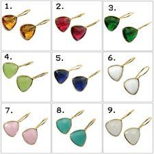 Trilian Multi Gemstone Hook 24k Gold Plated Drop Dangle Earring Fashion Jewelry