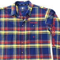 WRANGLER 20X Embroidered Long Sleeve Plaid Rodeo Shirt Boys Youth XXL 18-20