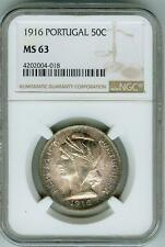 Beautifully toned 1916 Portugal 50 cents NGC MS 63