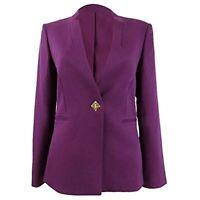 MSRP $139 TAHARI Womens Textured Blazer Wear to Work Jacket Purple Size 4 P