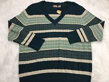 Northcrest Sweater Womens 4XL Blue Beige Green Striped V Neck Long Sleeve NEW