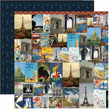 """Reminisce TRAVELOGUE MIDNIGHT IN PARIS 12""""x12"""" DS Papers x2 Sheets"""