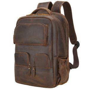 Men Leather Travel Backpack College 16'' Laptop Bag School Bag Office Satchel