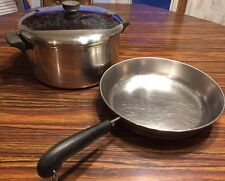 "Revere Ware Copper Bottom 6 Qt Stock Pot w Lid & 10"" Skillet SS 1801 Clinton Ill"