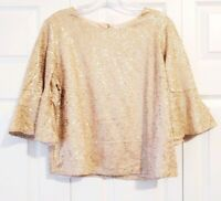 NWT ANTHRO REATH & WREN womens size M rose gold bell sleeve sequined blouse top