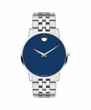 Movado Museum Classic Blue Dial Mens stainless steel link bracelet Watch 0607212