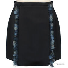 Christopher Kane Black Silk Inverted Pleat Feather Edged A-Line Skirt UK12 IT44