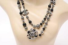 "AUTH CHANEL 42"" Long Necklace Silver Black Grey Beads w/Medallion & CC LOGOS"