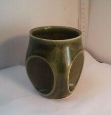 More details for holkham pottery owl eye mug t112  green glossy vintage retro ceramic
