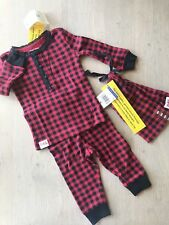NWT Baby Girl Polo Ralph Lauren Pajamas 3PC Red/Black Plaid Check, Size 12 Mos