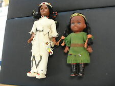 Vintage Pair Native American Child Doll Toy Leather Beaded Girls