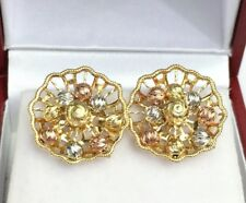 14k Solid Three Tones Gold Cute Flower Stud Earrings, 3.11 Grams