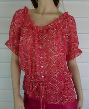 Diana Ferrari Top 10 Red Short Sleeve Peasant Drawstring Belt Abstract Ruffles
