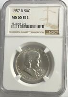 1957 D NGC MS65 FBL FRANKLIN HALF DOLLAR WHITE COINS 90% SILVER FULL BELLS LINE