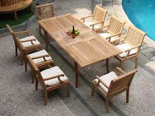 9 PC TEAK GARDEN OUTDOOR PATIO FURNITURE - SACK DINING DECK WITH ALL ARM CHAIRS