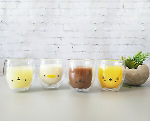 Cute Double Wall Glass Cups | Animal Designed Coffee Cups, Tea Cups, Glass Mugs