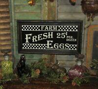 Primitive Antique Vtg Style Wood Frame Farm Fresh Eggs Hanging Advertising Sign