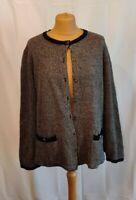 M&S Pure Merino Wool Cardigan Black Trim Vintage Look plus size UK 22 Christmas